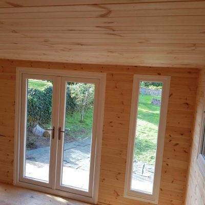 Oak log cabin garden room calver derbyshire