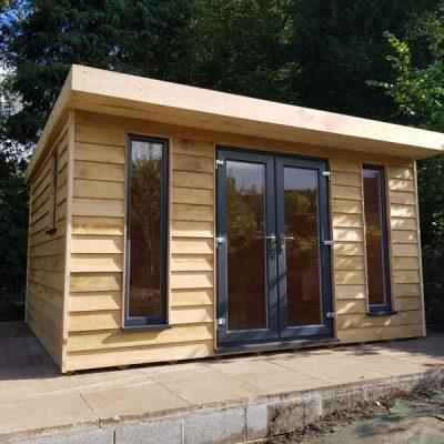 Oak log cabin garden room calver derbyshire