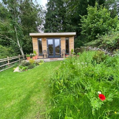 oak log cabin and landscaping calver derbyshire